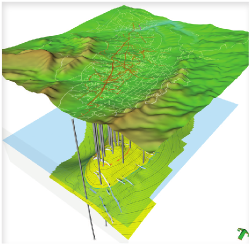 The Petrosys 3D Viewer combines the rich knowledge content of Petrosys maps with the 3D spatial rendering of subsurface features.