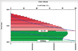 Slice volumetric charts show the distribution of volumes in depth.