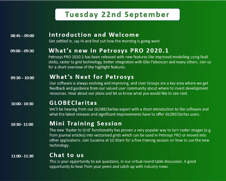 Petrosys Virtual User Group Agenda 22nd Sept