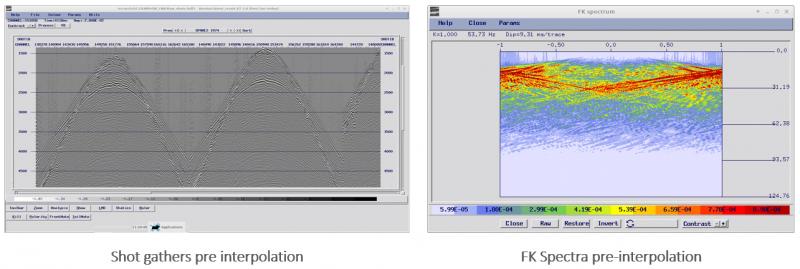 shot gathers pre interpolation and FK spectra pre-interpolation